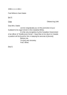 Attached letter from Fred White