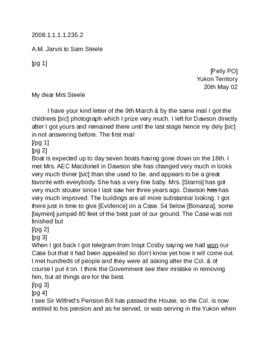 Attached letter to Marie Steele from Alex Jarvis