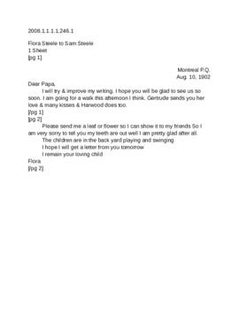 Attached letter from Flora Steele