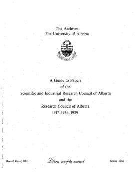 Scientific and Industrial Council of Alberta – Research Council of Alberta fonds